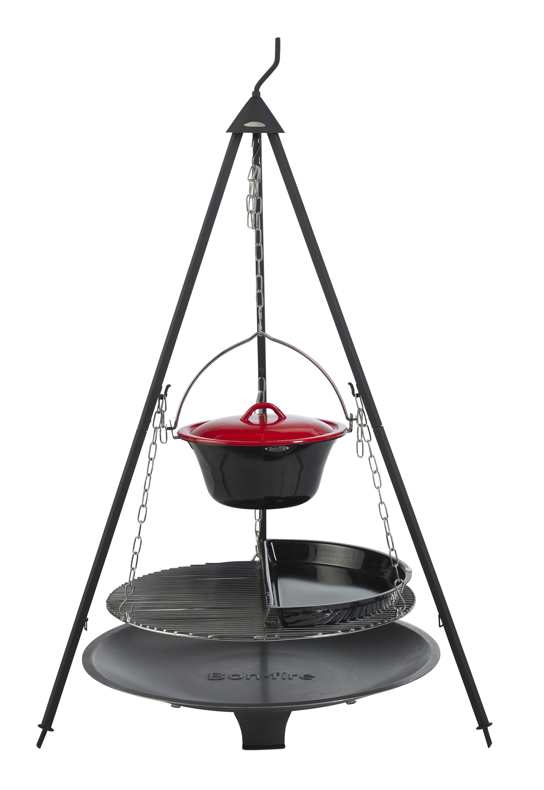 Bon-fire Brazier in steel and Basic set with Half BBQ pan and Stew pot.