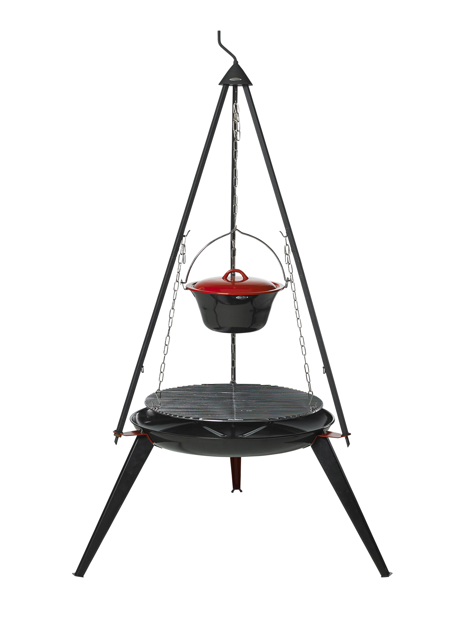 Bon-fire Brazier with long legs. Basic set and Stew pot on top.