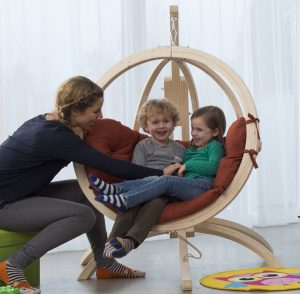 Amazonas Kid's Globo hang chair suspended from Hippo stand.