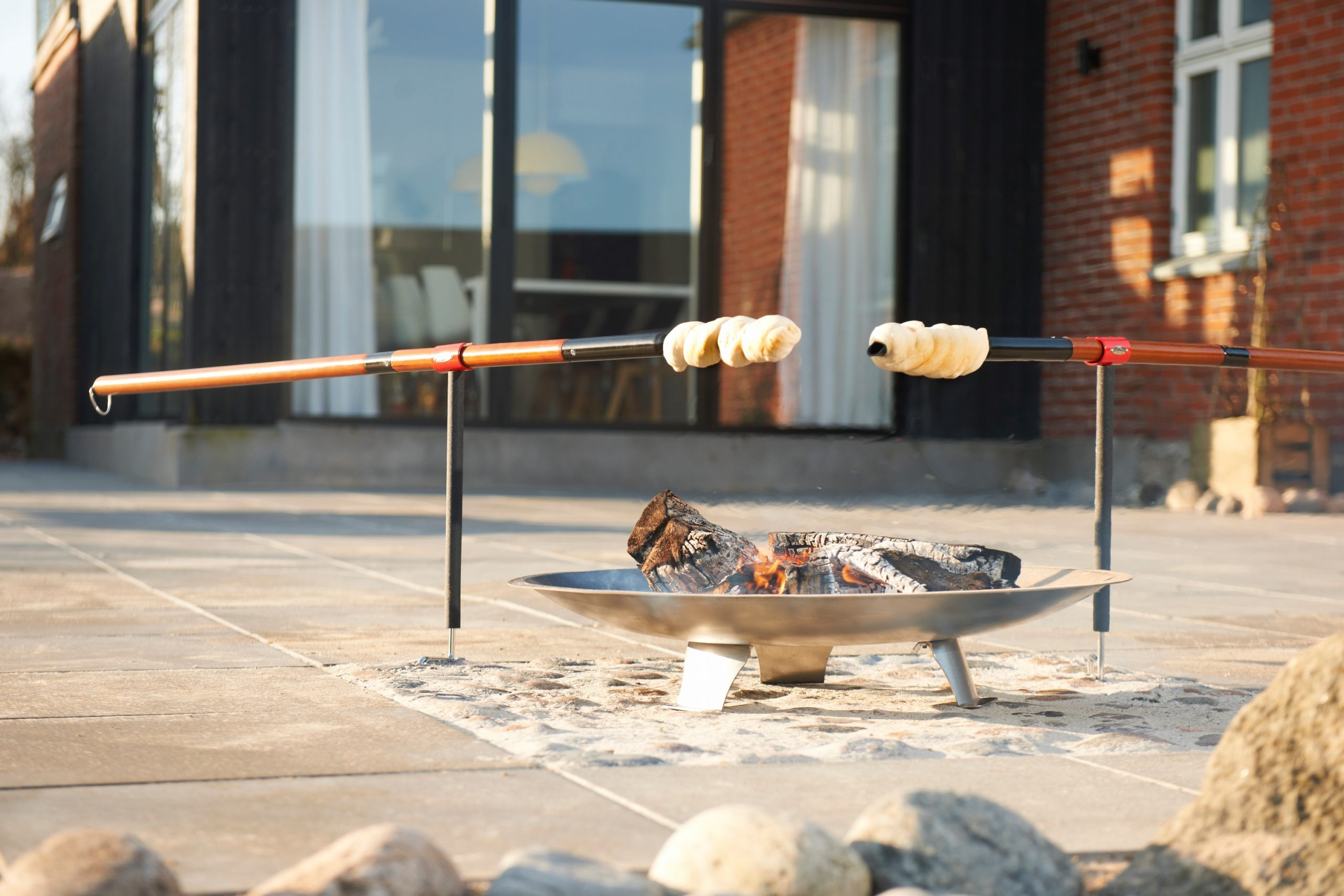Bon-fire Brazier in steel and two Twist bread sticks with mathing Holders.