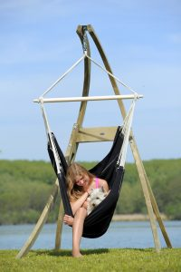 Amazonas Brasil black hang chair suspended from Atlas stand.