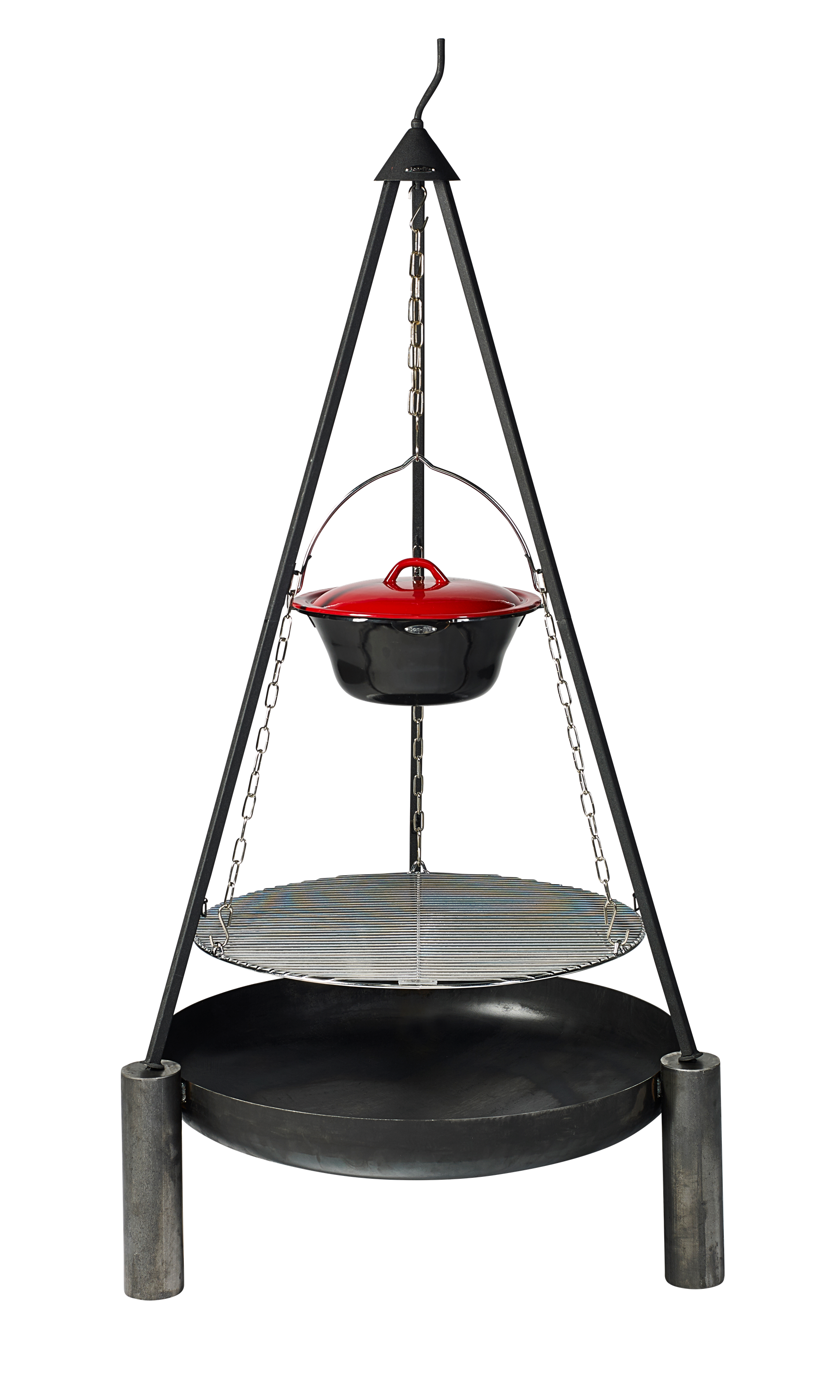 "Bon-fire Brazier ""2019"" in steel with Tripod, Grill grid and Stew pot."