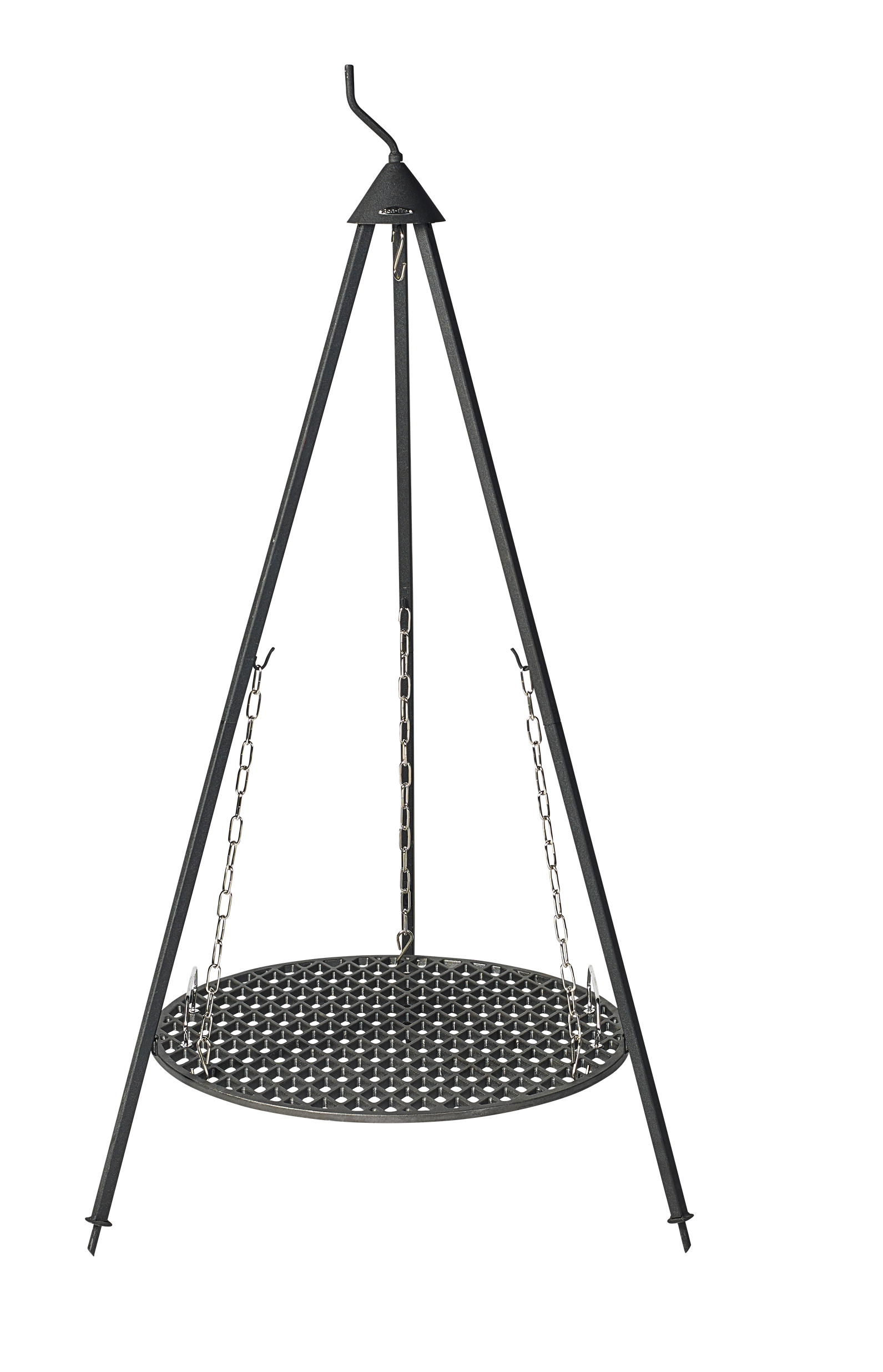 Bon-fire cast iron Grill Grid with diamond cut suspended from Bon-fire Tripod.