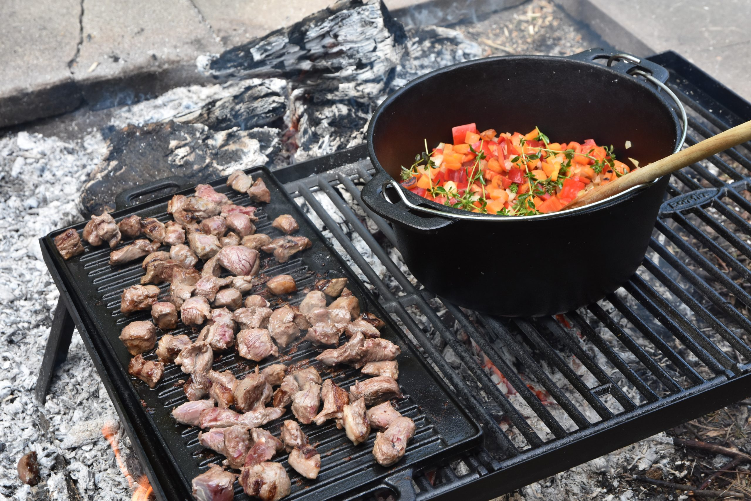 Bon-fire Grill with reversible Griddle and Stew pot. All in cast iron. Photo credit: @seatroutguidefyn